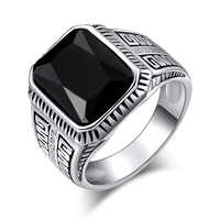 Wholesale Ring Fine Fashion Charm Black Resin Ring Silver Alloy Silver-Plated Square Rings For Women Men 2020 Best Gift