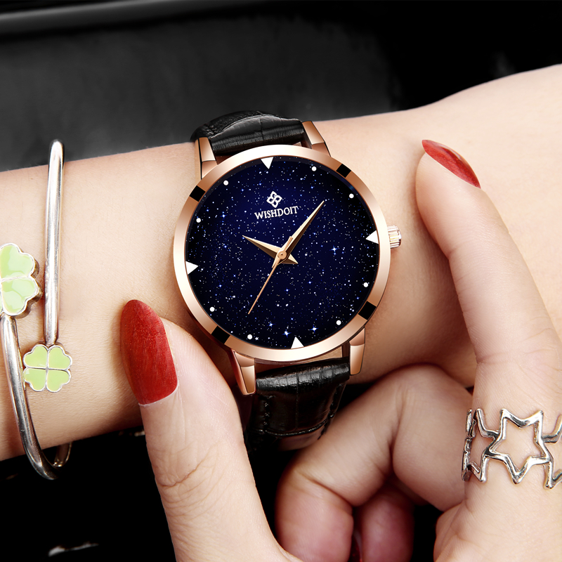2018 WISHODIT Brand Fashion Watch Women Luxury Casual Leather And Alloy Bracelet Analog Wristwatch Relogio Feminino Montre Femme in Women 39 s Watches from Watches