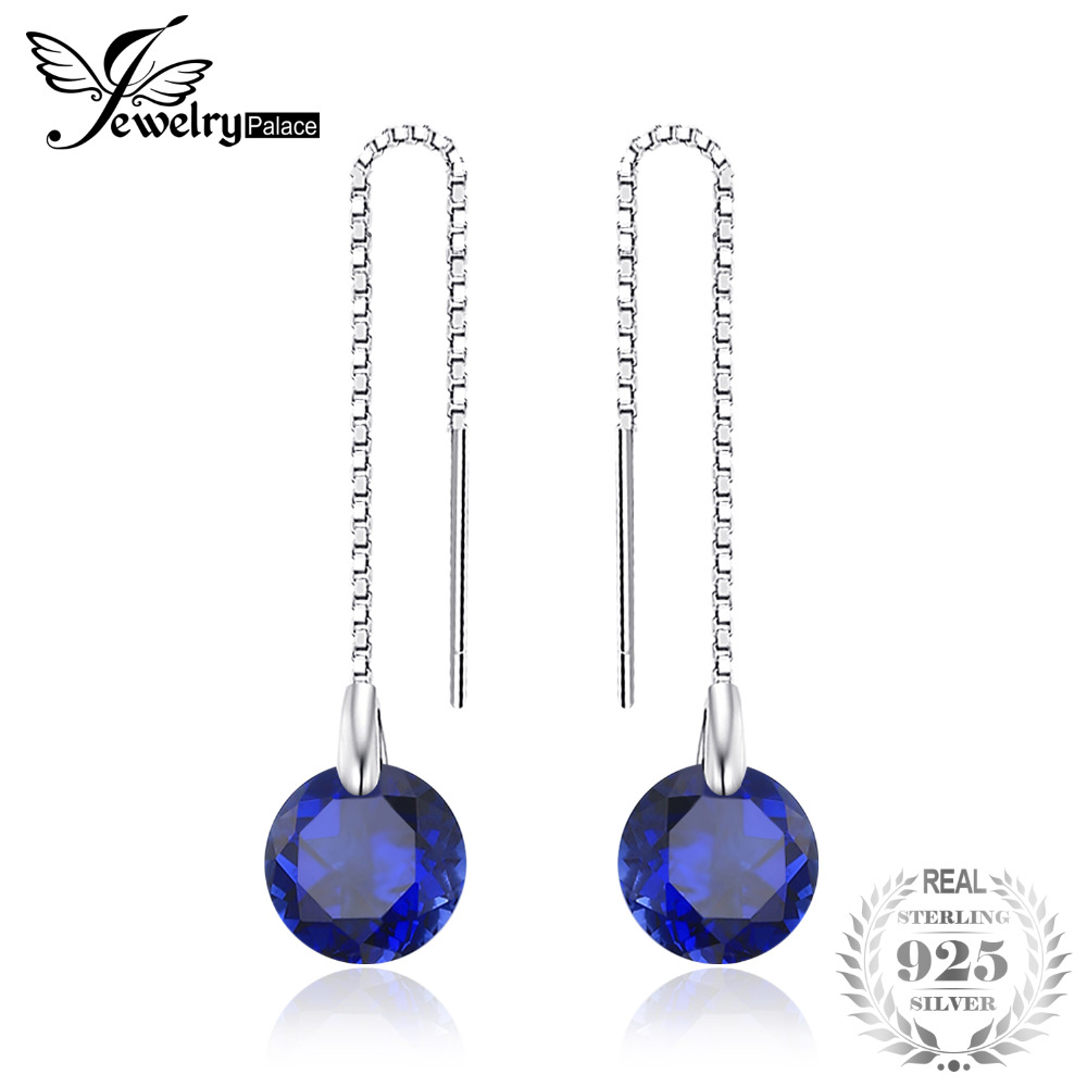 JewelryPalace 5.6ct Round Created Sapphires Threader Earrings 100% 925 Sterling Silver Charms Fine Jewelry Women 2017 Fashion