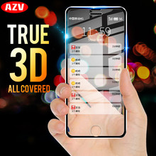 AZV 3D For iphone 6 7 8 Plus X 5 SE Full Cover Metal Edge Tempered Glass For Apple iphone X 8 7 6 6s 5s Protection Glass Film