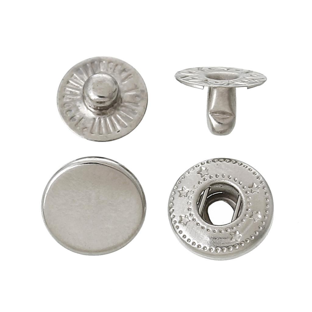 1Set Fashion Silver Tone Circular Rhinestone Snap Button Homemade jewelry  50
