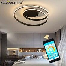 Intelligent Bluetooth Control Modern Led Chandelier Black&White Ceiling Lighting For Living room Bedroom Dining
