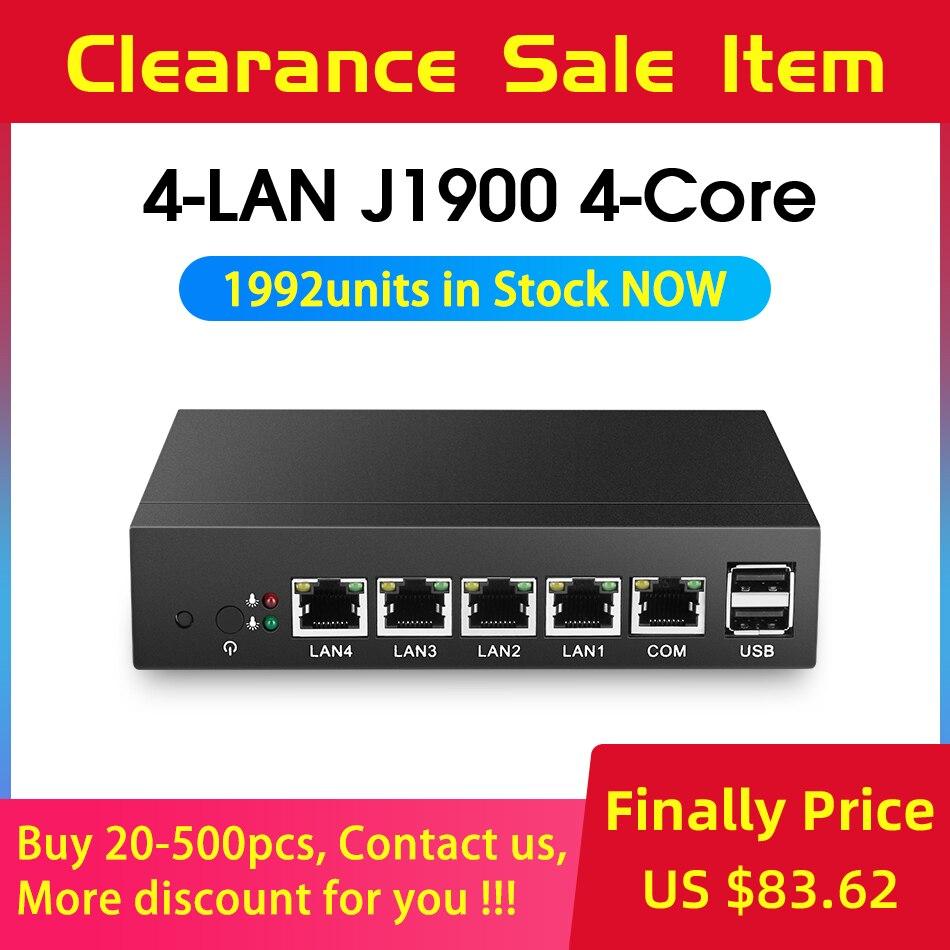 Fanless Mini PC pFsense Celeron J1900 Quad Core 4 Gigabit LAN Firewall Router Windows 10 Thin