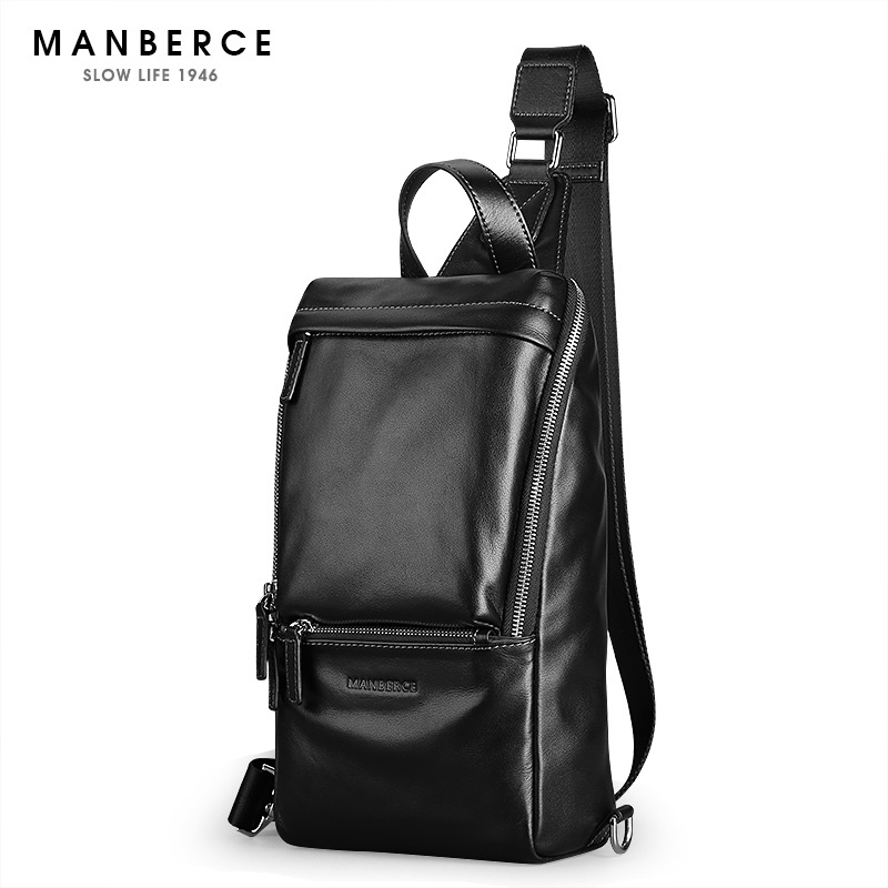 Luxury Men Genuine Leather Cowhide Vintage Sling Chest Bag Day Pack Travel fashion Cross Body Messenger Shoulder Bag high quality men genuine leather cowhide vintage sling chest back day pack travel fashion cross body messenger shoulder bag