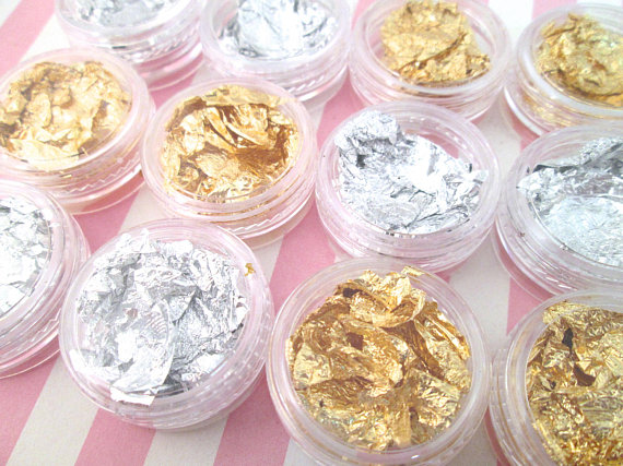 12Jar/Set Gold /silver flakes for nail decor and nail art, Foil Flakes Leaf for Nail Art Pack of 6 PCS Gold + 6 PCS Silver