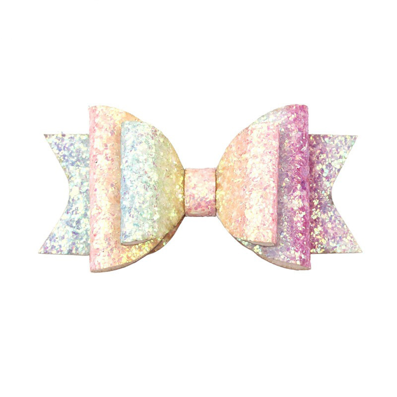 Sweet Girl Baby Bow knot Rainbow Color Hair Clip Glitter Sequins Bows Hairpins