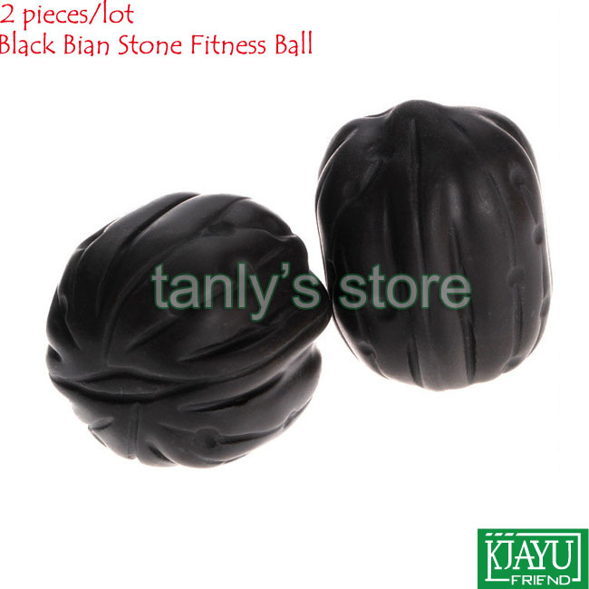 Wholesale & Retail Traditional Acupuncture Massage Tool Natural Black Bian-stone Fitness Walnut Ball 2pieces/set retail traditional bian needle therapy black bian stone massage guasha tool