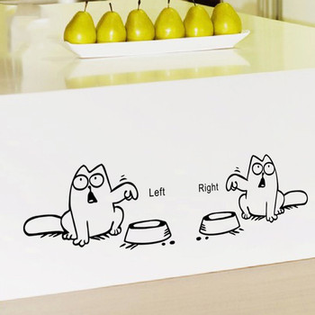 Left Right newest DIY FUNNY cat need food home decor wall sticker For kitchen