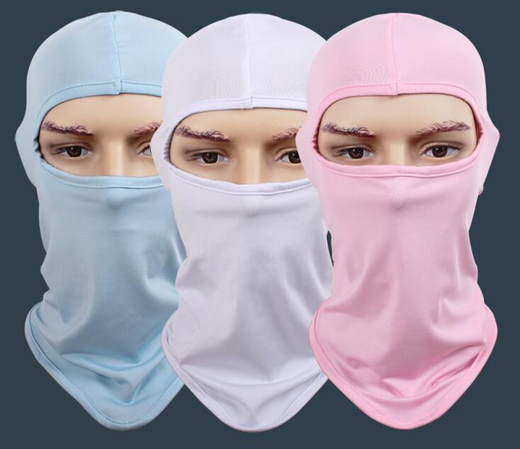Bulk 100pcs Cheap Men Blank Masks Balaclavas One Hole Summer White Plain Skull Face Masks Women Blue Pink Balaclavas BeanieCap