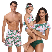 New Fashion Printed Family Matching Swimwear Mother and Daughter Swimsuit Bikini Flounced Father Son Beach Trousers