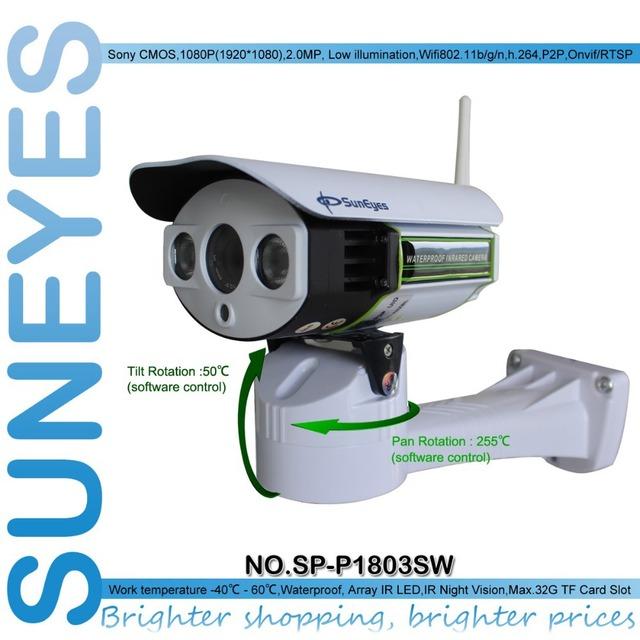 Suneyes sp-p1803sw 1080 p hd pan/tilt cámara ip inalámbrica al aire libre wifi soporte de tarjeta sd micro ranura