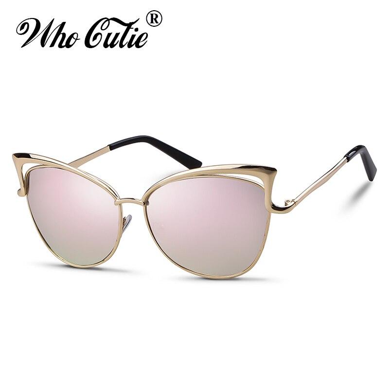 , Die Cutie 2019 Cat Eye Übergroße Sonnenbrille Frauen Marke Designer Retro Vintage Gold Rosa Spiegel Sonnenbrille Weibliche Shades Om807