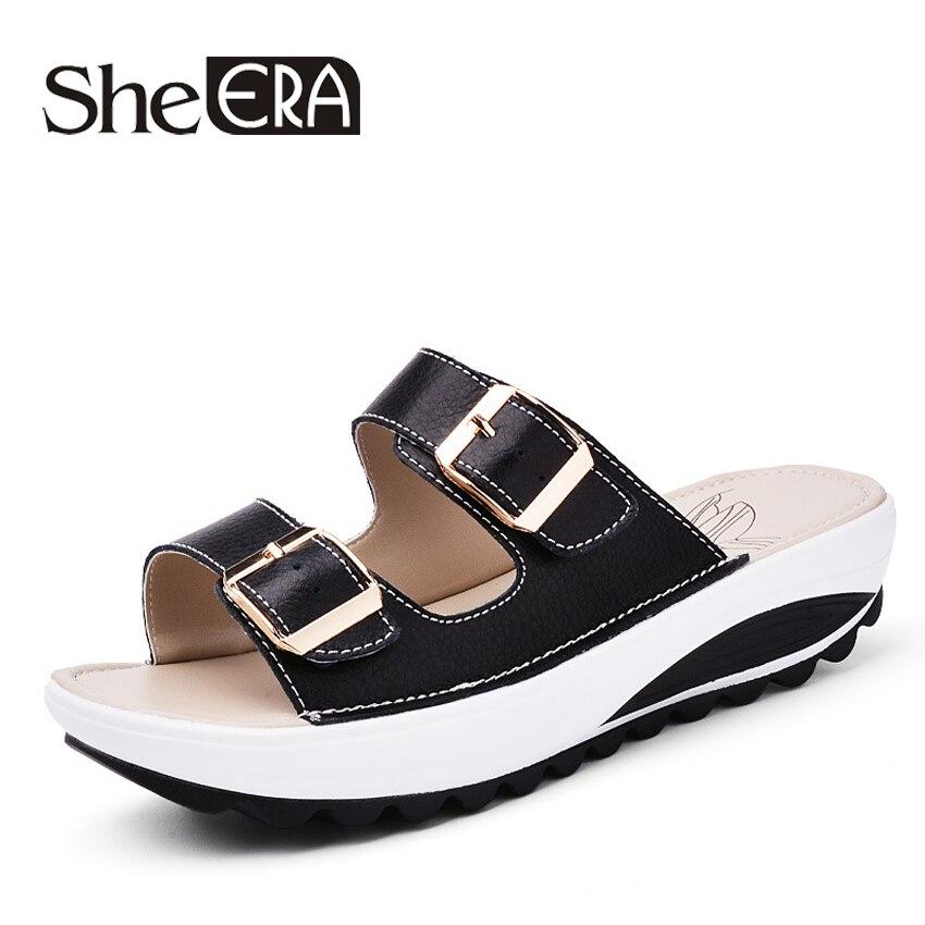dda48a2e3776 Aliexpress.com   Buy She ERA 2018 Summer Women Sandals White Genuine  Leather Platform Slippers Double Buckle Slides Sandals Female Flip Flops  Shoes from ...