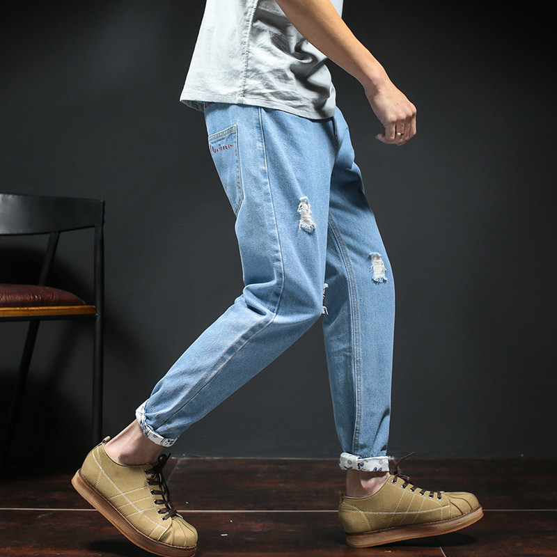 2017 Solid Zipper Fly Midweight Mid Softener Cotton Full Length Medium Cargo Pants Top Rushed Loose Hole Nine Cents Jeans 2016 men jeans denim zipper fly cargo pants softener mid cotton shorts lightweight print brand new loose yellow green