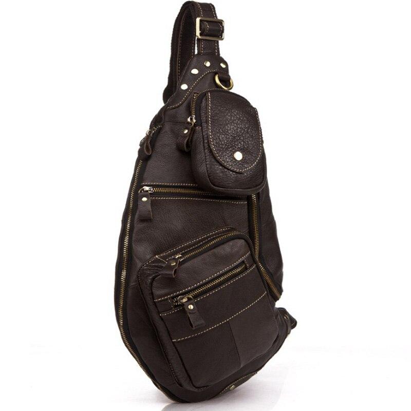 الرجال جلد طبيعي حقيبة ساعي بريد للرجال حقائب كتف الذكور الصدر حزمة أكياس كروسبودي للرجال حقيبة صدر للرجال حبال جلدية كبيرة على  مجموعة 1