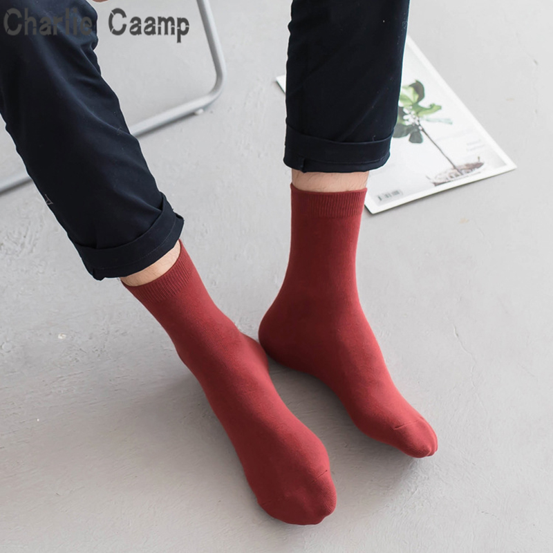 Charlie Caamp Hot Spring And Autumn 100% Cotton Flat Mouth Sweat-absorbent Leisure Tube Mens Socks