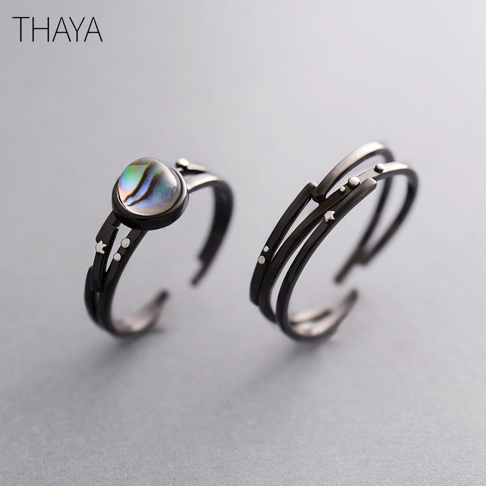 Thaya Stars Milky Galaxy Astronomy Ring Magical Gemstone 925 Sterling Silver Party Handmade Bands Jewellery for Women silver