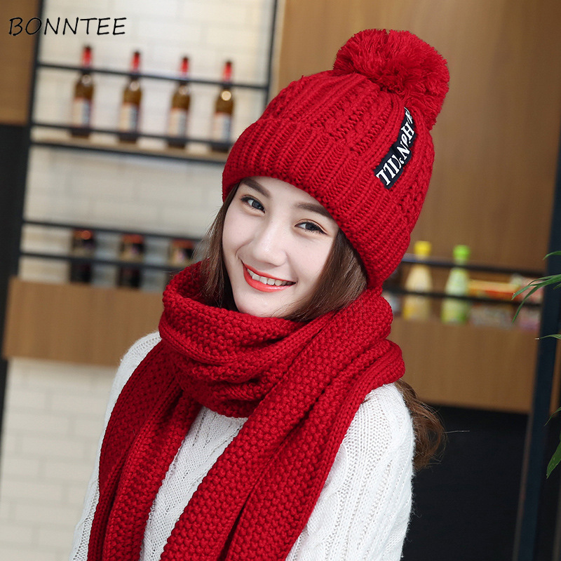 Scarf And Sets Women 3 Pieces Set Pompom Winter Warm Letter Printed Womens Thicker Plus Velvet All-match Sweet Ladies Elegant