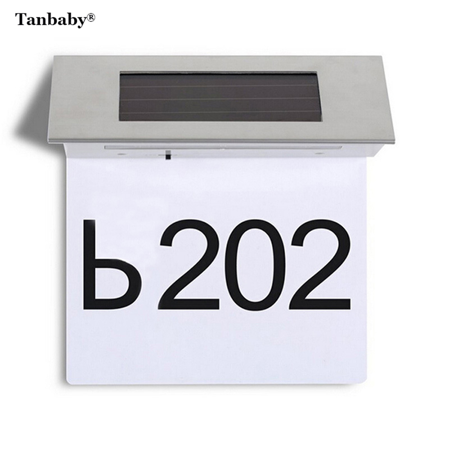 Tanbaby 4 LED White Solar Powered Door Number Light LED Illuminated Sign  House Hotel Door Address Plaque Number Digits Plate  In Solar Lamps From  Lights ...