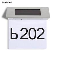 Tanbaby 4 LED White Solar Powered Door Number Light LED Illuminated Sign House Hotel Door Address