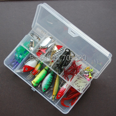 109pcs/lot,fishing lures set(Minnow,Crank,pencil,popper,VIB,Spoons,soft lures,hooks,wire leader line,accessory),Free shipping