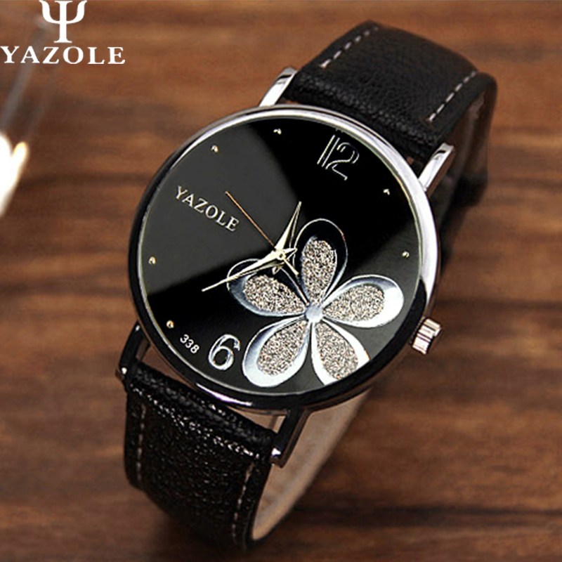 Yazole font b Watches b font Women 2016 Fashion Leather Strap Flower Female Clock Ladies Quartz