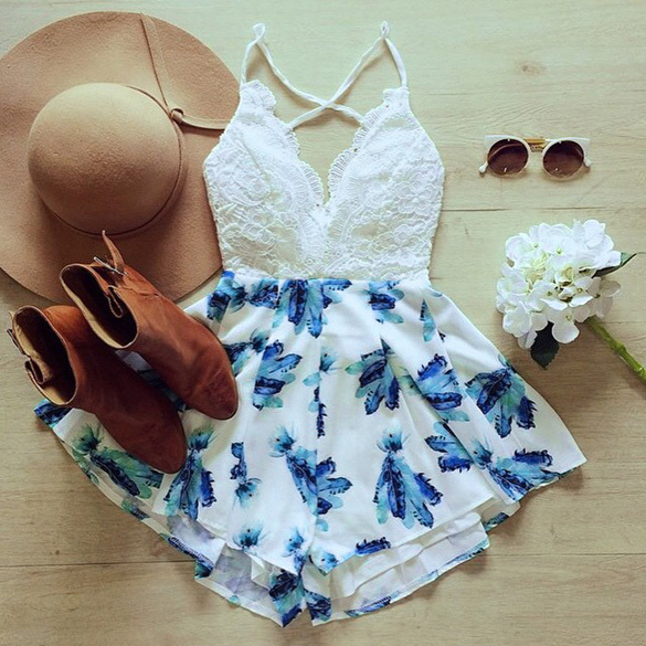 Sexy Playsuit Women Rompers Jumpsuit Summer Beach Playsuits Deep V Neck Spaghetti Straps Cross High Waist Print Jumpsuits Bodies