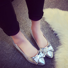 2016 Korean Style New Fashion Woman Flats Non-slip Bowtie Shallow Mouth Flat Single Shoes Multi-colored Casual Shoes ST372