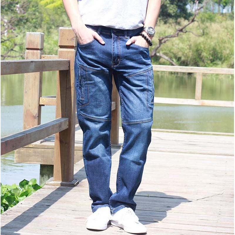 Straight Jeans  Man Jeans 2017 New Seasons overall Loose CARGO PANTS Elasticity Mens Long Trousers Plus Size 28-44 Bottoms new straight jeans autumn winter men s loose cowboy denim trousers plus size 28 44 46 48 man jeans bottoms