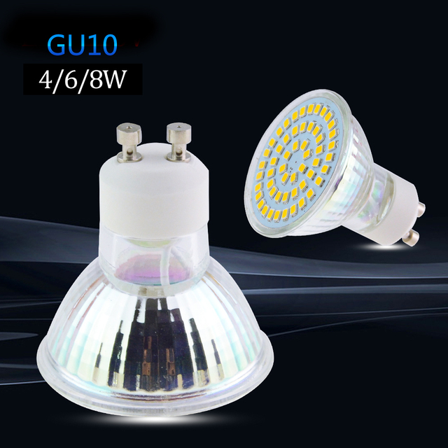 bombillas led gu10 lamp 4 w 6 w 8 w led spotlight gu10 bulb 220 v