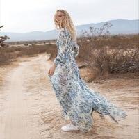 100% silk blue floral printed boho long sleeve v neck women summer elegant maxi dress