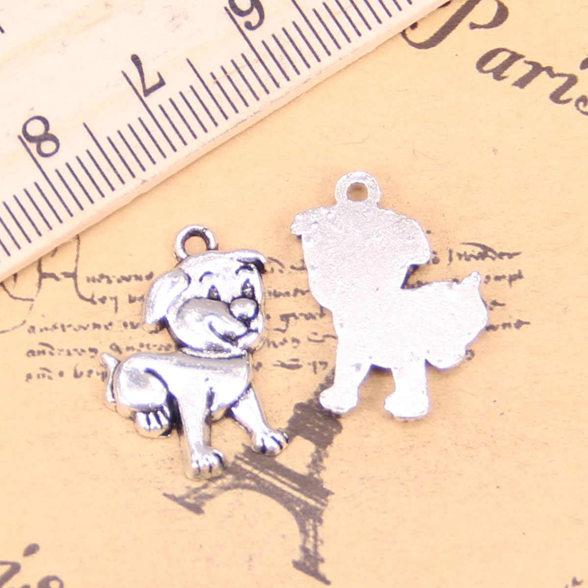 68 sztuk biżuteria Charms piękny pies 21x16mm Antique Silver Plated zawieszki dokonywanie DIY Handmade tybetański srebrny biżuteria