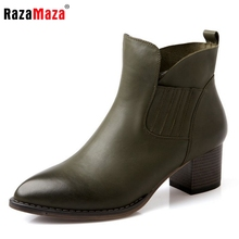 women real natrual genuine leather martin high heel ankle boots half short bota winter boot warm footwear shoes R7345 size 34-39