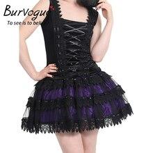 Burvogue New Black Midi Steampunk Skirts for Women Elegant Tulle Skirt Summer Gothic Pleated Fluffy Lace Corset Tutu Mini Skirt