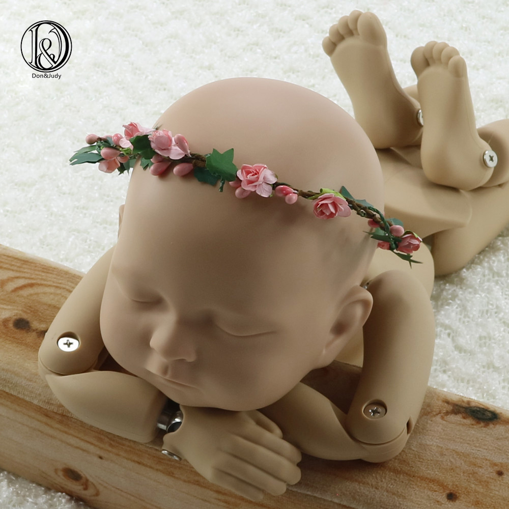 Handcraft Mini Garland with Peach Flower Baby Gril Photography Props Baby Shower Gift