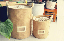 Foldable Natural Jute Storage basket Wahsing Clothes Laundry Bag Storage Box Sundries Organizer Toys Storage Bucket Home Storage