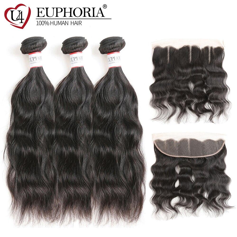 Natural Wave Human Hair Bundle Deals With Lace Frontal 13x4 Euphoria Brazilian 100% Remy Human Hair 3/4 Bundles With Closures