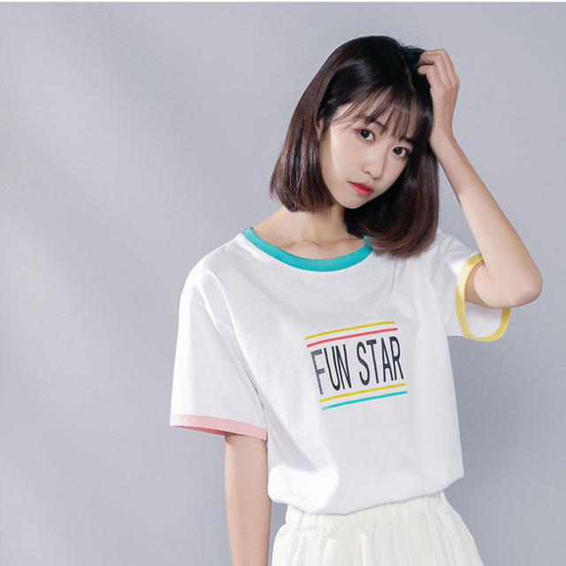 04ff9394382 Korean Ulzzang Tops T shirt Women Summer 2018 Harajuku Lolita Style Kawaii  Top Tshirt Schoolgirl Tumblr Clothes