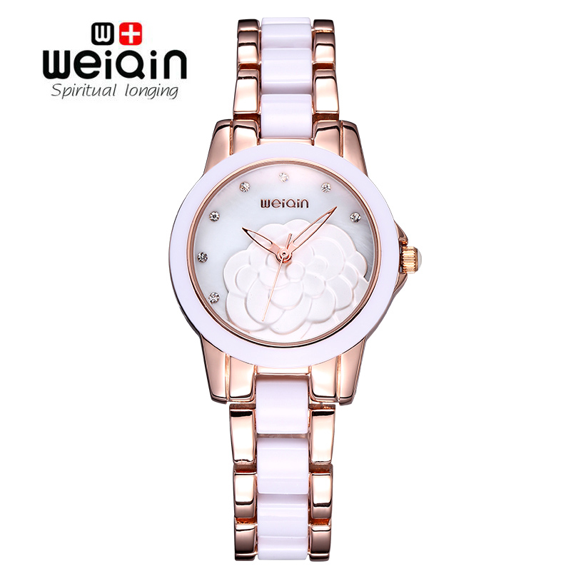 WEIQIN 2017 Brand Watches Woman Rose Gold White Rhinestone Crystal Flower Hollow Fashion Watch Women Ladies