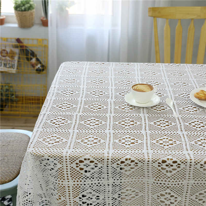 Modern White Crochet Tablecloth Hollowed Cotton Solid Table Cover Rectangle Banquet Coffee Dining Room Home Textile Decoration in Tablecloths from Home Garden