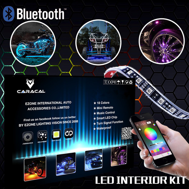 LED Glow Interior Car Kit Under Dash Footwell Seats Inside Lighting Music  Sync
