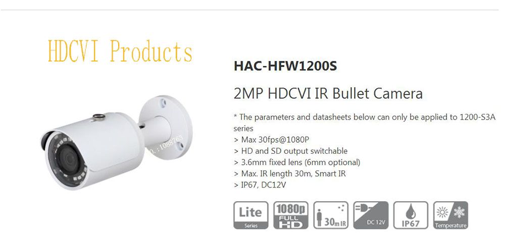 Free Shipping DAHUA Original English Security Camera CCTV 2M 1080P Water-proof HDCVI IR Bullet Camera without Logo HAC-HFW1200S dahua 2mp hdcvi camera cctv 1080p water proof ip67 hac hfw1200s bullet camera lens 3 6mm ir leds length 30m mini security camera