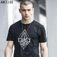 AK CLUB Men T Shirt Boutique Edition 2017 Urban Agent Assassin Line Print T Shirt Cotton