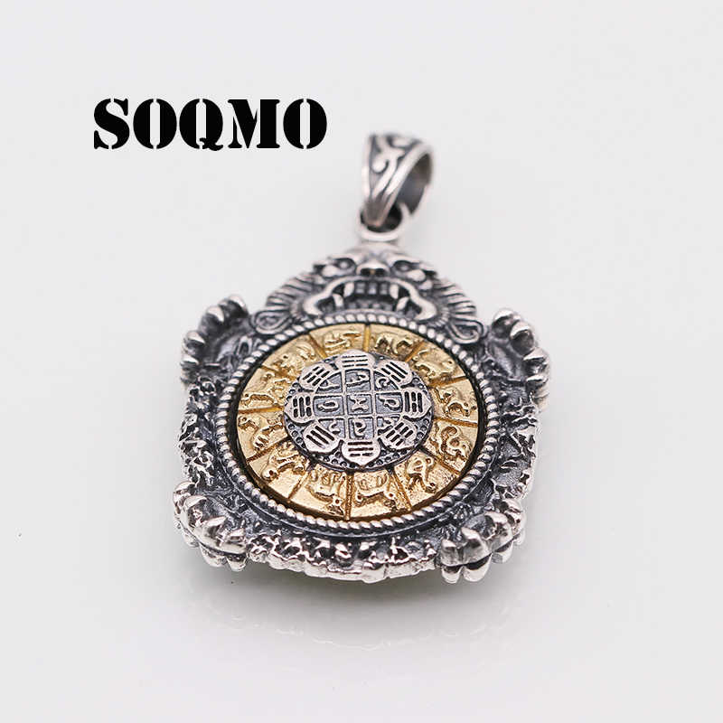 SOQMO Authentic 925 Sterling Silver Round Rotatable Pendant Chinese Zodiac For Men Vintage Punk Rock Men Jewelry Buddhist