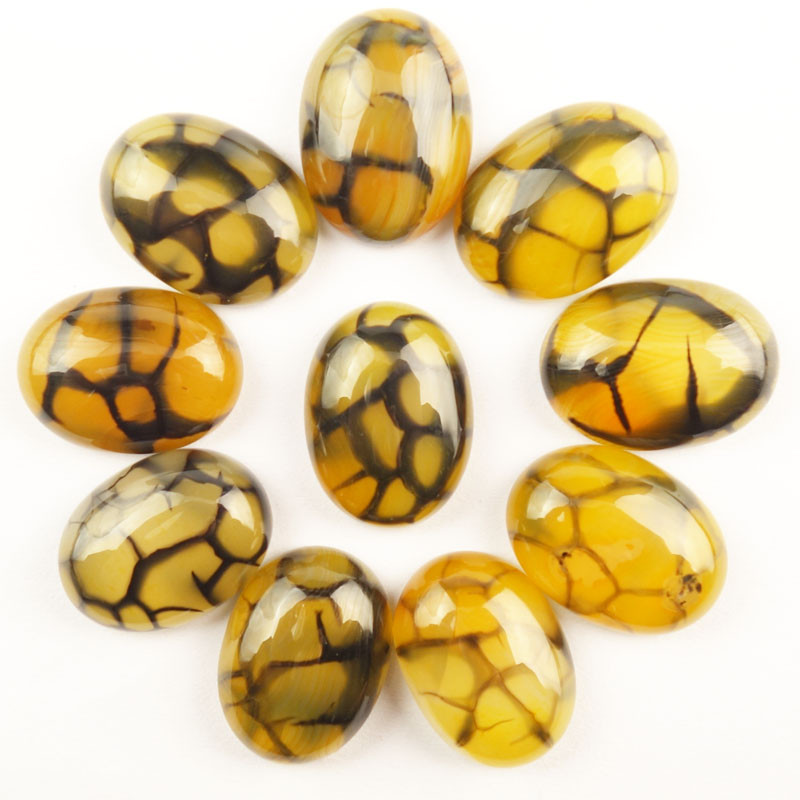 10Pcs 20x15x6mm Yellow Black Dragon Veins Agates Oval Cab Cabochon Dw036(Send Randomly)