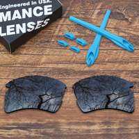 ToughAsNails Resist Seawater Corrosion Black Polarized Replacement Lenses and Blue Ear Socks & Nose Pads for Oakley Flak 2.0 XL