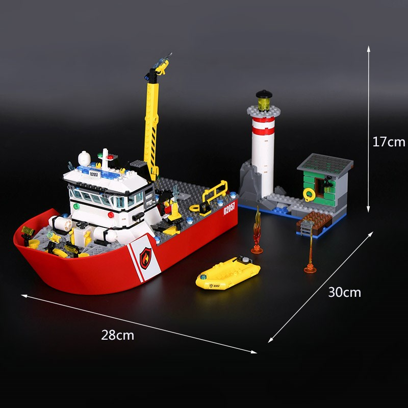02057 461Pcs City police Series Fire boat Assembly toy Building Block Brick boy best gift New year Gift compatible 60109 engineering hotel fire alarm police bell fire fire bell 220v 4 inch suit