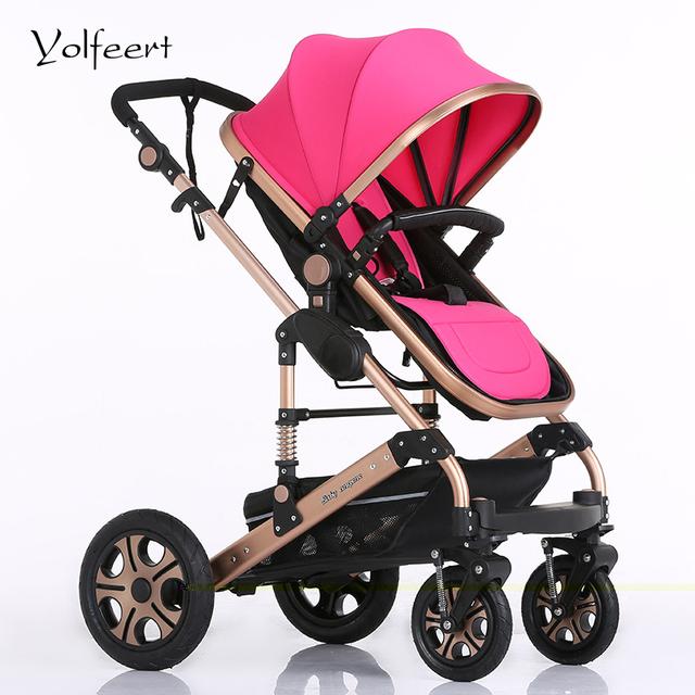 YOLFEERT Alta Vista Cochecito de niño Del Bebé 0-36 M de Lujo Del Cochecito de Bebé 3 en 1 silla de Ruedas Carro cochecitos Cochecitos Cochecito de Coche de China