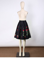 2017 European And American Style New White Red Rose Print Skirt High Waist Skirt Women S