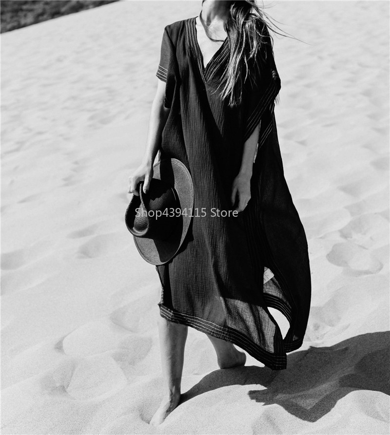2019 Long Beach Cover Up Pareos De Playa Mujer Beach Wear Plus Size Bikini Cover Up Robe Plage Sarong Black Beach Tunic Attractive Designs;
